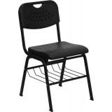 HERCULES Series 880 lb. Capacity Black Plastic Chair with Black Powder Coated Frame and Book Basket [RUT-GK01-BK-BAS-GG]