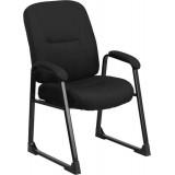 HERCULES Series Big & Tall 400 lb. Capacity Black Fabric Executive Side Chair with Sled Base [WL-738AV-BK-GG]