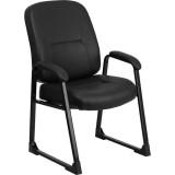 HERCULES Series Big & Tall 400 lb. Capacity Black Leather Executive Side Chair with Sled Base [WL-738AV-LEA-GG]