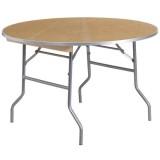 48'' Round HEAVY DUTY Birchwood Folding Banquet Table with METAL Edges [XA-48-BIRCH-M-GG]
