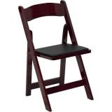 HERCULES Series Mahogany Wood Folding Chair with Vinyl Padded Seat [XF-2903-MAH-WOOD-GG]