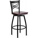 HERCULES Series Black ''X'' Back Swivel Metal Bar Stool - Mahogany Wood Seat [XU-6F8B-XSWVL-MAHW-GG]