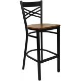 HERCULES Series Black ''X'' Back Metal Restaurant Bar Stool - Cherry Wood Seat [XU-6F8BXBK-BAR-CHYW-GG]