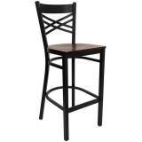 HERCULES Series Black ''X'' Back Metal Restaurant Bar Stool - Mahogany Wood Seat [XU-6F8BXBK-BAR-MAHW-GG]