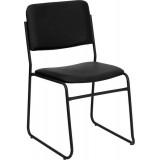 HERCULES Series 1500 lb. Capacity High Density Black Vinyl Stacking Chair with Sled Base [XU-8700-BLK-B-VYL-30-GG]