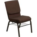 HERCULES Series 18.5''W Brown Fabric Church Chair with 4.25'' Thick Seat, Book Rack - Gold Vein Frame [XU-CH-60096-BN-BAS-GG]