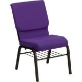 HERCULES Series 18.5''W Purple Fabric Church Chair with 4.25'' Thick Seat, Book Rack - Gold Vein Frame [XU-CH-60096-PU-BAS-GG]