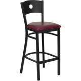 HERCULES Series Black Circle Back Metal Restaurant Bar Stool - Burgundy Vinyl Seat [XU-DG-60120-CIR-BAR-BURV-GG]