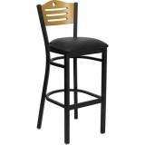 HERCULES Series Black Slat Back Metal Restaurant Bar Stool - Natural Wood Back, Black Vinyl Seat [XU-DG-6H3B-SLAT-BAR-BLKV-GG]