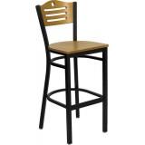 HERCULES Series Black Slat Back Metal Restaurant Bar Stool - Natural Wood Back & Seat [XU-DG-6H3B-SLAT-BAR-NATW-GG]