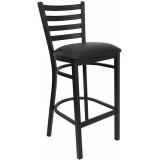 HERCULES Series Black Ladder Back Metal Restaurant Bar Stool - Black Vinyl Seat [XU-DG697BLAD-BAR-BLKV-GG]