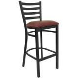 HERCULES Series Black Ladder Back Metal Restaurant Bar Stool - Burgundy Vinyl Seat [XU-DG697BLAD-BAR-BURV-GG]