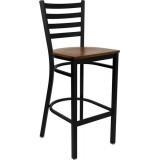 HERCULES Series Black Ladder Back Metal Restaurant Bar Stool - Cherry Wood Seat [XU-DG697BLAD-BAR-CHYW-GG]