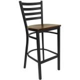 HERCULES Series Black Ladder Back Metal Restaurant Bar Stool - Mahogany Wood Seat [XU-DG697BLAD-BAR-MAHW-GG]