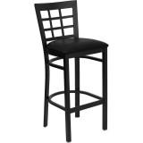 HERCULES Series Black Window Back Metal Restaurant Bar Stool - Black Vinyl Seat [XU-DG6R7BWIN-BAR-BLKV-GG]