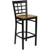 HERCULES Series Black Window Back Metal Restaurant Bar Stool - Cherry Wood Seat [XU-DG6R7BWIN-BAR-CHYW-GG]