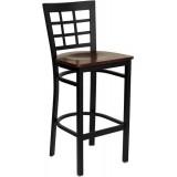 HERCULES Series Black Window Back Metal Restaurant Bar Stool - Mahogany Wood Seat [XU-DG6R7BWIN-BAR-MAHW-GG]