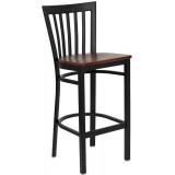 HERCULES Series Black School House Back Metal Restaurant Bar Stool - Cherry Wood Seat [XU-DG6R8BSCH-BAR-CHYW-GG]