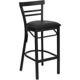 HERCULES Series Black Ladder Back Metal Restaurant Bar Stool - Black Vinyl Seat [XU-DG6R9BLAD-BAR-BLKV-GG]
