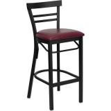 HERCULES Series Black Ladder Back Metal Restaurant Bar Stool - Burgundy Vinyl Seat [XU-DG6R9BLAD-BAR-BURV-GG]