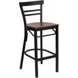 HERCULES Series Black Ladder Back Metal Restaurant Bar Stool - Cherry Wood Seat [XU-DG6R9BLAD-BAR-CHYW-GG]