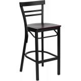 HERCULES Series Black Ladder Back Metal Restaurant Bar Stool - Mahogany Wood Seat [XU-DG6R9BLAD-BAR-MAHW-GG]