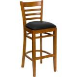 HERCULES Series Cherry Finished Ladder Back Wooden Restaurant Bar Stool - Black Vinyl Seat [XU-DGW0005BARLAD-CHY-BLKV-GG]