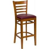 HERCULES Series Cherry Finished Ladder Back Wooden Restaurant Bar Stool - Burgundy Vinyl Seat [XU-DGW0005BARLAD-CHY-BURV-GG]