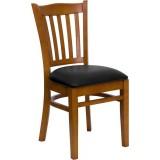 HERCULES Series Cherry Finished Vertical Slat Back Wooden Restaurant Chair - Black Vinyl Seat [XU-DGW0008VRT-CHY-BLKV-GG]