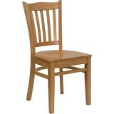 HERCULES Series Natural Wood Finished Vertical Slat Back Wooden Restaurant Chair [XU-DGW0008VRT-NAT-GG]